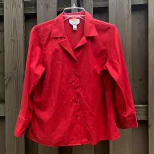 Talbots Petites Red Wrinkle Resistant Shirt EUC 10